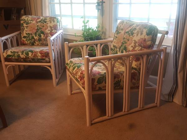 Pair of Rattan Chairs $50 ith some new cushion fabric these chairs would look totally transformed. View on Craigslist