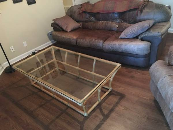 Rattan and Glass Coffee Table $20 This coffee table would look fabulous if it was styled well - you could leave as is or paint it. View on Craigslist