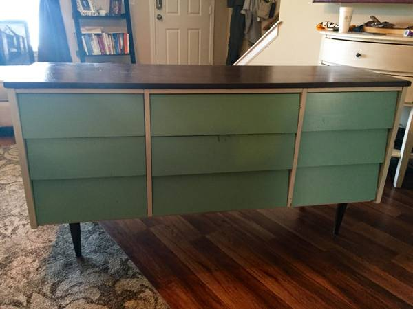 Mid-Century Modern Dresser     $45   This could probably use a new coat of paint but is a really good deal.    View on Craigslist