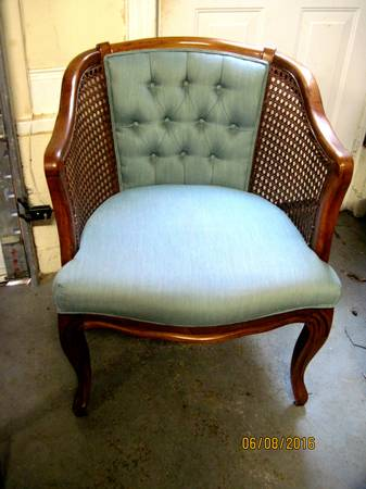 Vintage Cane C  hair     $25   This would look great painted!  Here's  a great tutorial on how to reupholster these chairs.     View on Craigslist
