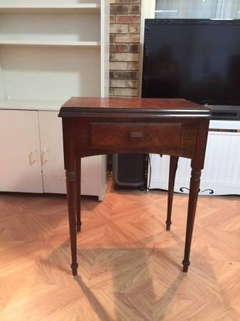 Vintage Sewing Machine Table     $50   This would make a perfect nightstand or side table.    View on Craigslist