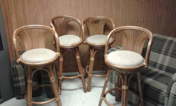 Set of 4 Rattan Bar Stools     $100     View on Craigslist