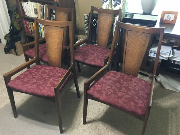 Mid-Century Dining Chairs     $100   These chairs would look great with new fabric!    View on Craigslist