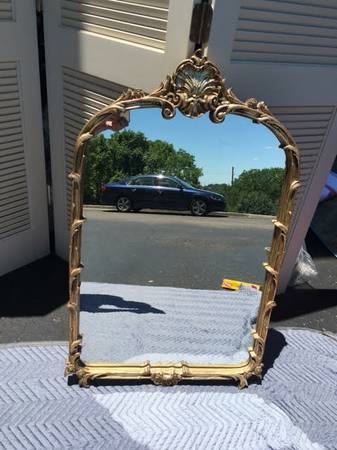Gold Mirror     $80   I think this mirror would be gorgeous over a vanity in a small bathroom.     View on Craigslist