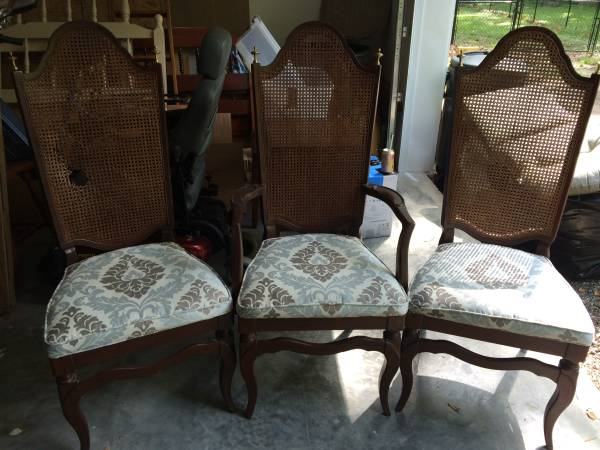 Set of Cane Back Dining Chairs     $25   This is a great deal - one of the chairs has damage to the caning but for this price you could get it repaired.    View on Craigslist