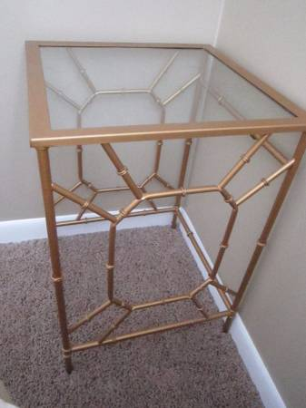 Gold/Glass End Table $25 View on Craigslist