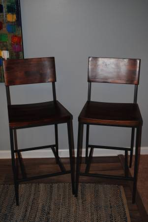 Pair of West Elm Stools     $100   These are counter height stools.    View on Craigslist