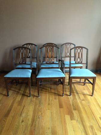 Set of Dining Chairs     $100   This would be a great set to paint and these seats are simple to recover.     View on Craigslist