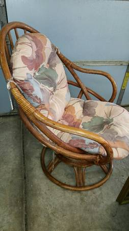 Vintage Rattan Swivel Chair     $15   This just needs a new cushion and it will look fabulous!    View on Craigslist
