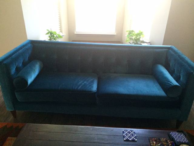 Tufted Blue Sofa     $200     View on Craigslist