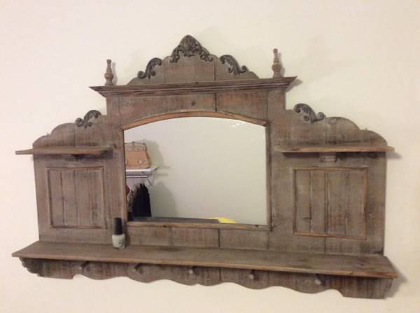Reclaimed Wood Shelf/Mirror $40 View on Craigslist