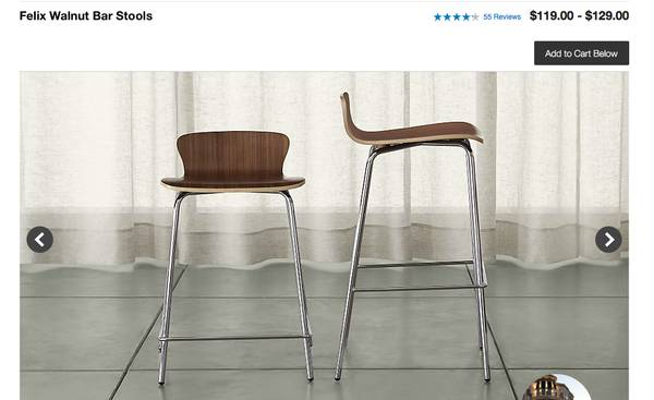 Pair of Crate and Barrel Stools     $60     View on Craigslist