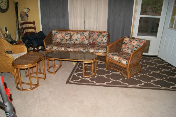 Wicker/Rattan Patio Set     $125   What a great set! This just needs new cushions and it would be perfect in your sunroom.    View on Craigslist