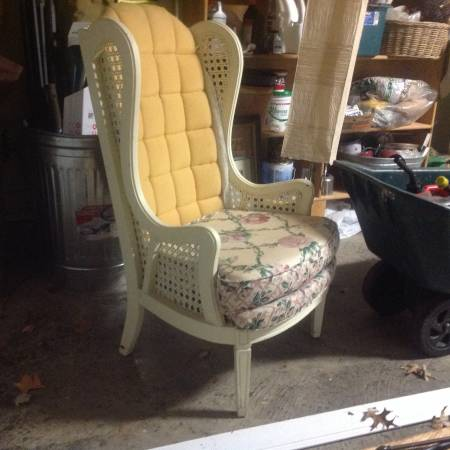 Vintage Cane Chair     $40   This chair would look great reupholstered.    View on Craigslist