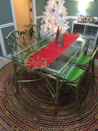 Bamboo Dining Set $200 I love these Chinese Chippendale style chairs - I would get the whole set a new coat of paint.  View on Craigslist
