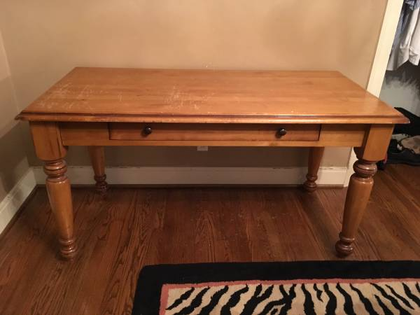 Pottery Barn Desk $100 The top has some scratches but would be beautiful refinished. View on Craigslist