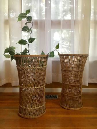 Pair of Wicker Plant/Side Tables $100 View on Craigslist