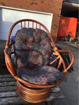 Rattan Swivel Chair $50 This is a really cool chair, it just needs a new cushion.  View on Craigslist