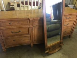 Dresser with Mirrors $45 This would be a great piece to paint! View on Craigslist