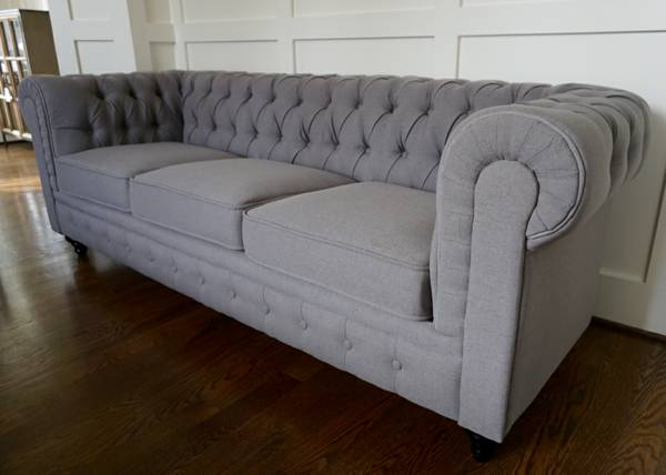 Linen Chesterfield Sofa $640 View on Craigslist