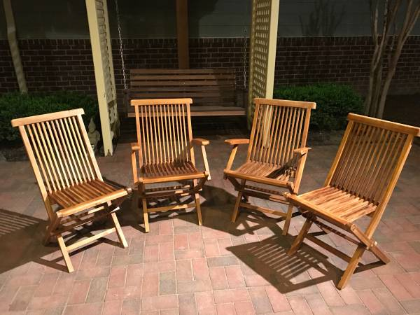 Teak Folding Chairs $100 View on Craigslist