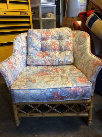Rattan Upholstered Chair $25 This chair would look fabulous with some new fabric! View on Craigslist