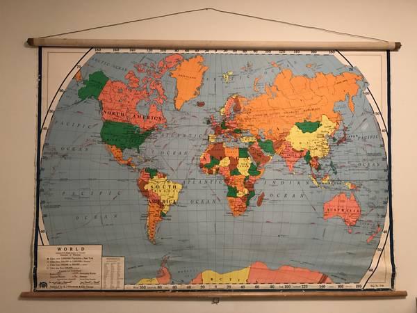 Vintage World Map $80 View on Craigslist