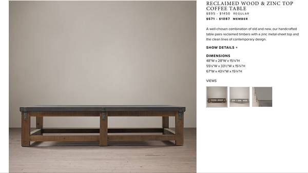 Restoration Hardware Coffee Table $450 View on Craigslist