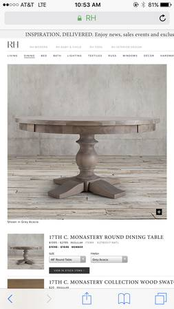 Restoration Hardware Table $800 View on Craigslist