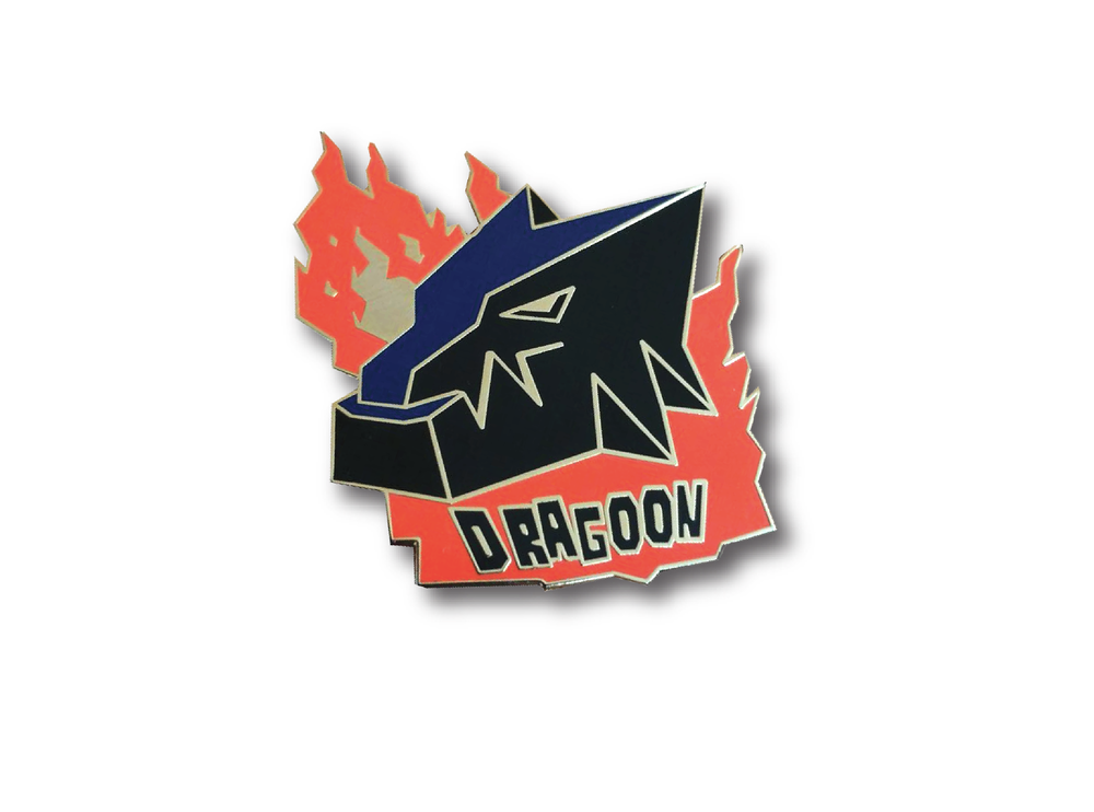 "Much fiery. So Dragoon. Yes amaze. This 1.5"" hard enamel pin may burn you."