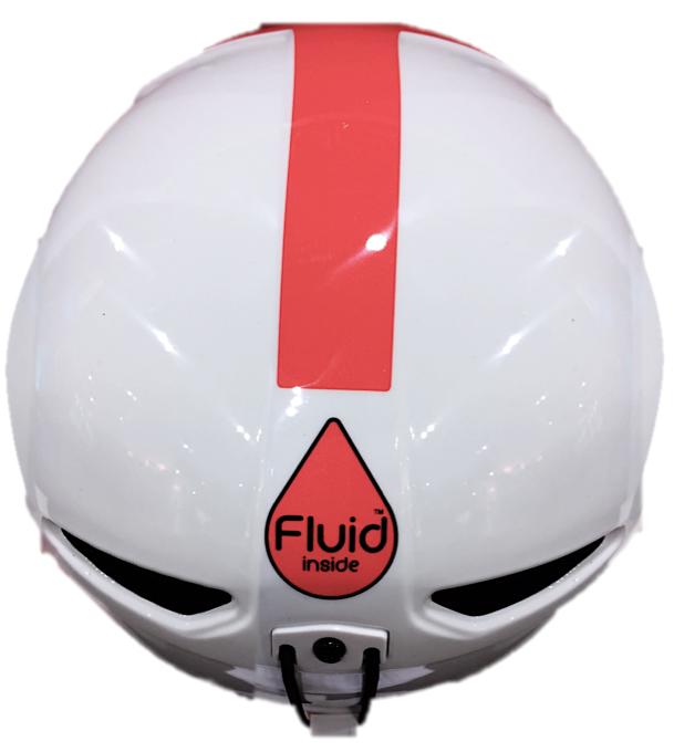 "Briko Faito all-mountain helmet with ""Fluid Inside""  sticker."
