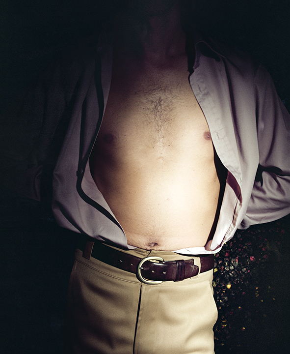 Untitled,  (Male Torso Open Shirt)   from  Early Color Portfolio , circa 1976 16 x 20 inches Archival Pigment Print