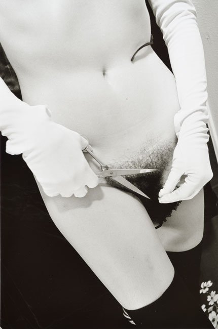 Untitled, (Nude with Scissors) from the  Early Black and White Portfolio , circa Early 1970's Gelatin Silver Print  14 x 11 inches
