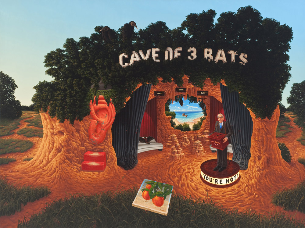 Cave of Three Bats (and the Ray of Hope) , 2012 Oil on canvas 54 x 72 inches