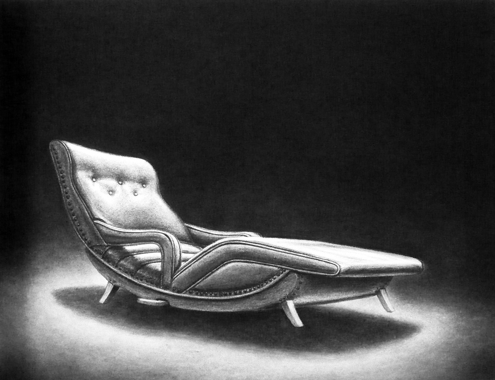 Lounge,  from the series  Hover , 2009 Charcoal and pastel on paper 10.25 x 13.25 inches