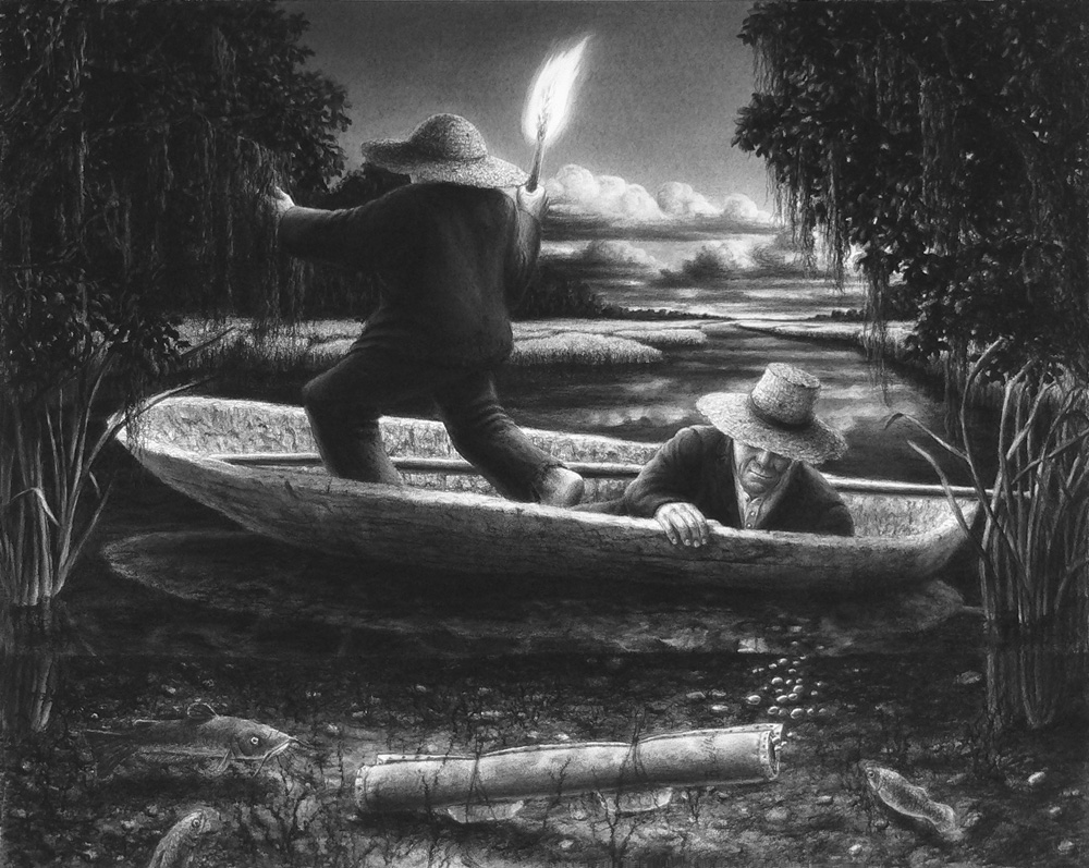 The Mystery of B. Wilbur and the Swamp Bottom , 2009 Charcoal drawing 20 x 25 inches
