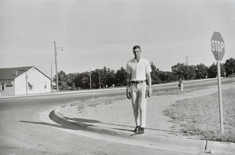 Untitled  (Man by stop sign), 1960-1972 Gelatin Silver Print 16 x 20 inches