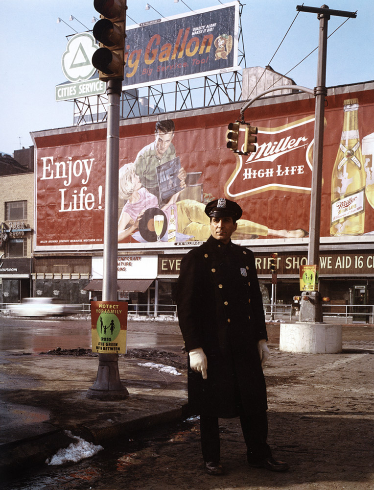 Policeman 59th St. , New York, 1964  Dye Transfer Print 20 x 16 inch