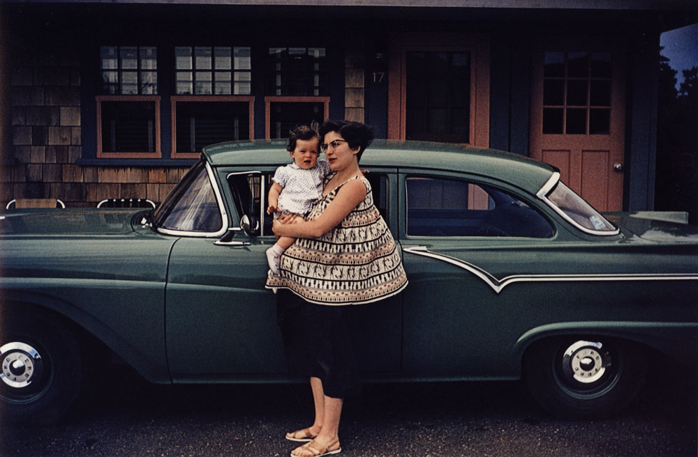 From Guy Stricherz's Americans in Kodachrome, Mother with Green Ford, Pocasset, Massachusets, 1957  (Walter Dufresne Jr., photographer)