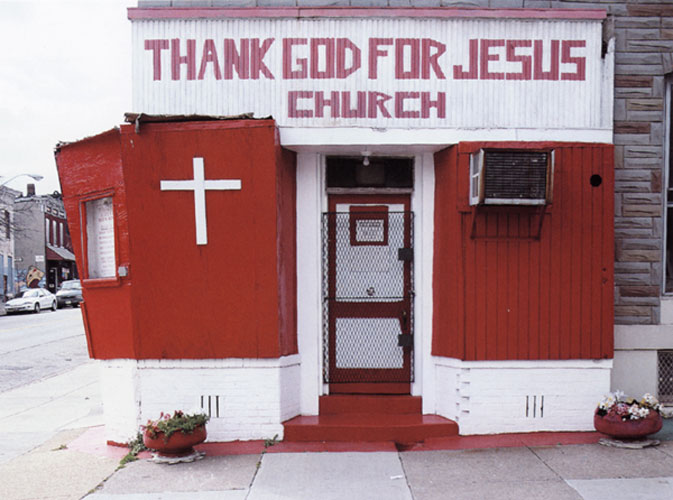 At Thank God for Jesus Church, a sign reads, Our Mission is to Win the Lost to Christ, North Bond Street, Baltimore , 2002