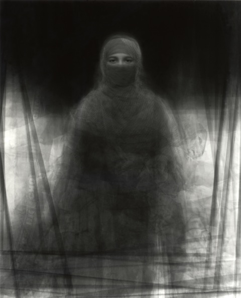 Ken Kitano  ,   our face, 23 Muslim women wearing the burka, July 27, 2008 Nira Village, Bagachara City, Bangladesh   Gelatin silver print,   70×56 inches   Image courtesy of Ken Kitano
