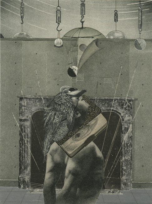 Man with Atlas , 1991 Collage, 7.75 x 5.5 in Signed on print recto in pencil
