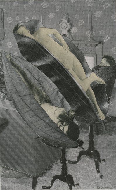 Pods , 2010 Collage, 4 x 6.5 in Signed on print recto in pencil