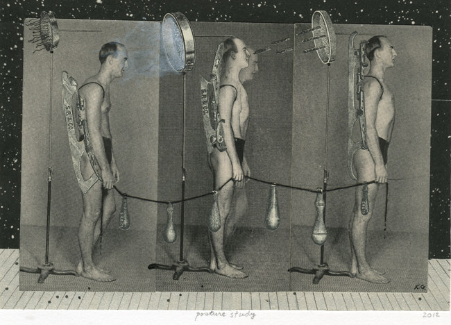Posture Study , 2012 Collage, 4.75 x 6.75 in Signed on print recto in pencil