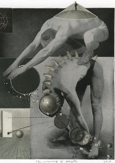 The Meaning of Gravity , 2010 Collage, 6.5 x 4.75 in Signed on print recto in pencil
