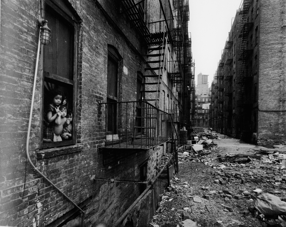 Untitled  (Children, brick alley), 1966-1968 Silver Gelatin Print 11 x 14 inches