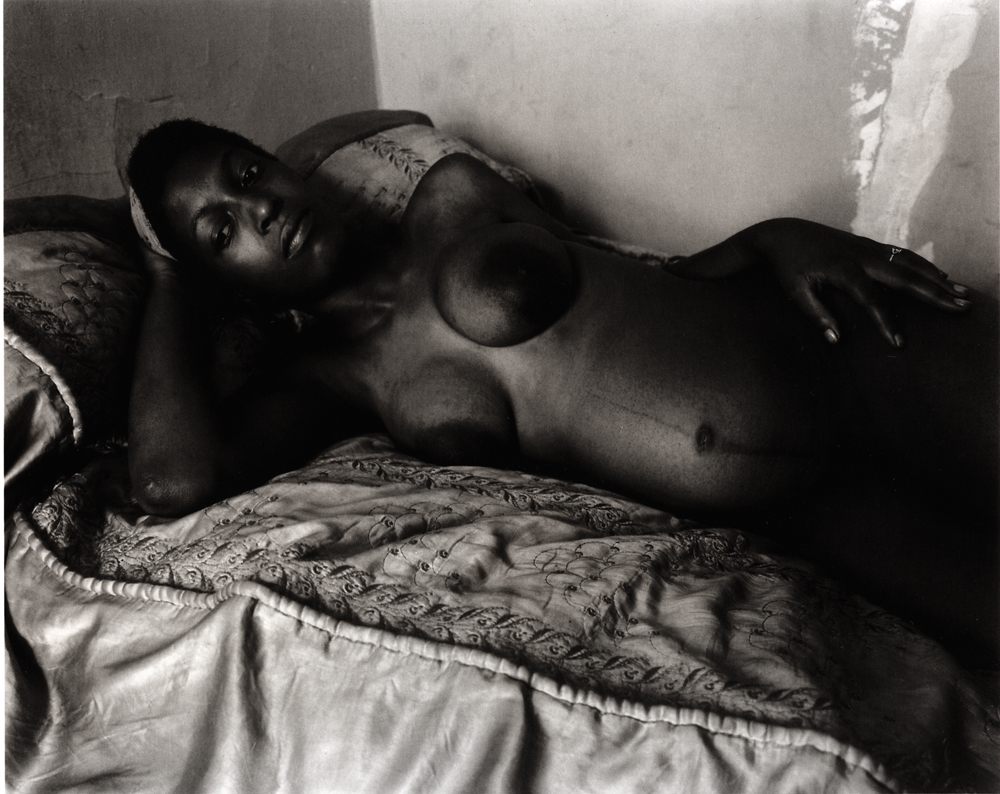 Untitled  (Pregnant on bed, nude), 1966-1968 Silver Gelatin Print 11 x 14 inches
