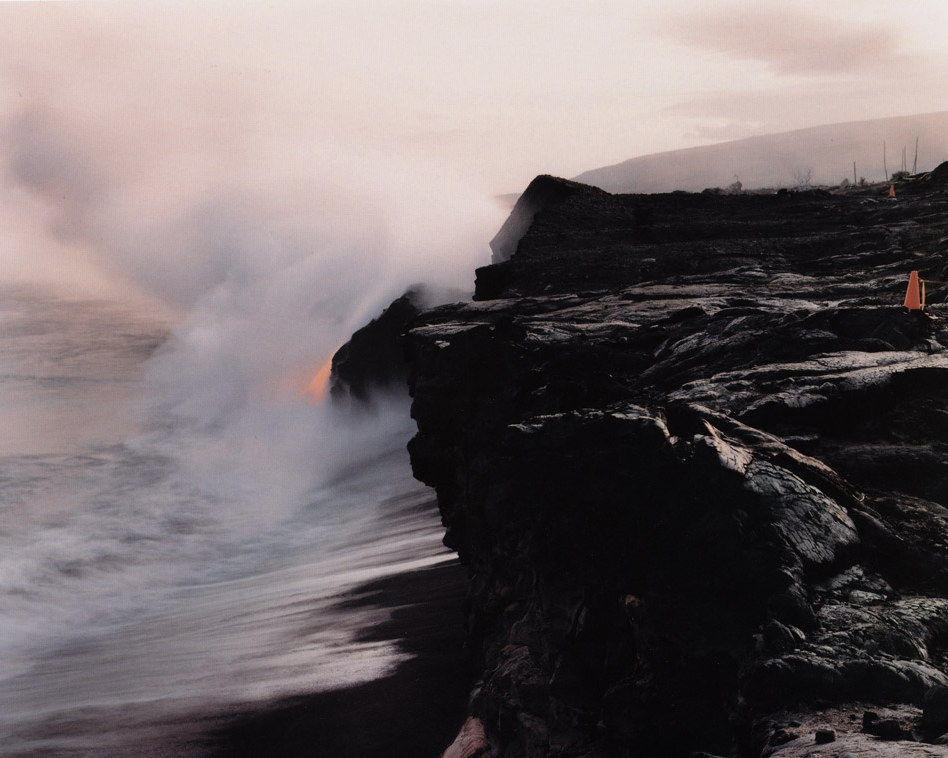 Lava Flowing into the Sea Past Remnants of the Visitors' Center, Volcanoes National Park, Hawaii , 1991