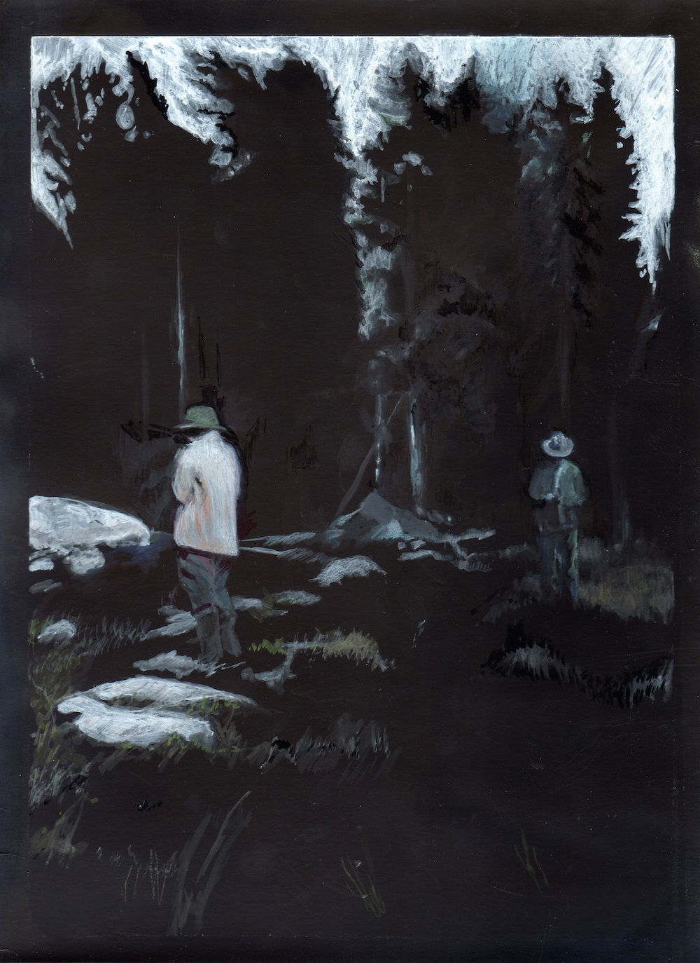 Untitled (2 figures in woods) , 2014 8 x 10 inch Watercolor and mixed-media on photopaper Signed and dated on verso