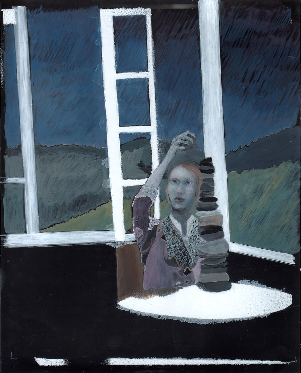 Untitled (girl stacking),  2014 8 x 10 inch Watercolor and mixed-media on photopaper Signed and dated on verso From the collection of the artist